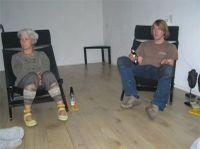 Our 'client' Carla and son Sieger admiring the finished Duoplank Oak floor